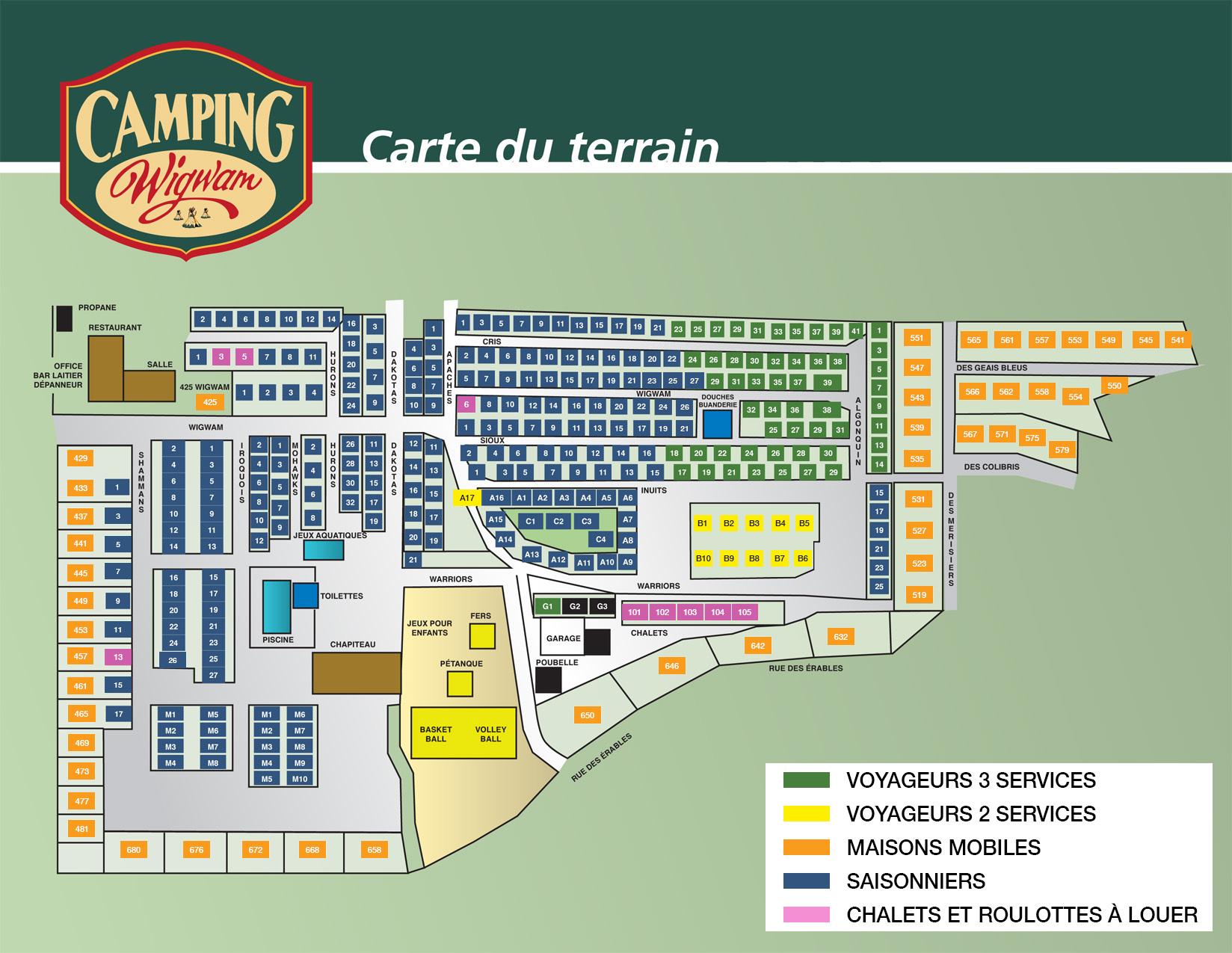 Carte du terrain du Camping Wigwam