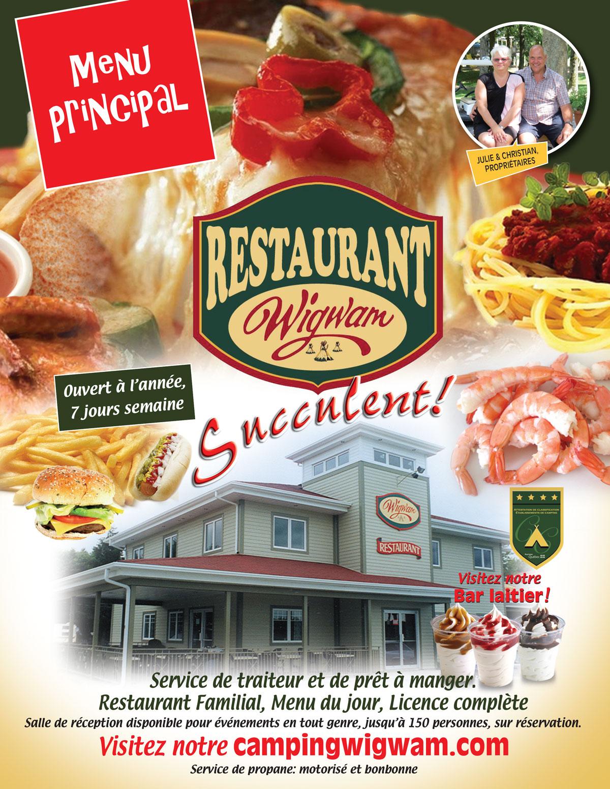 Menu principal Restaurant camping Wigwam